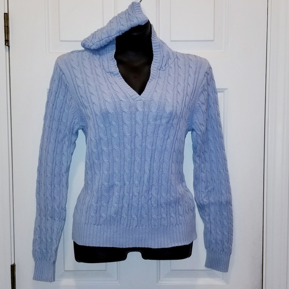 731c763ecde Light Blue Cable Knit Hooded V-neck Sweater L